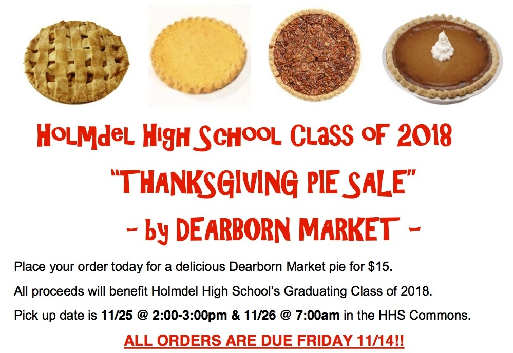 Thanksgiving Pie Sale Class of 2018 graphics